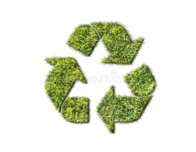 Recycleer teken van gras dat op witte achtergrond wordt geïsoleerd stock afbeelding