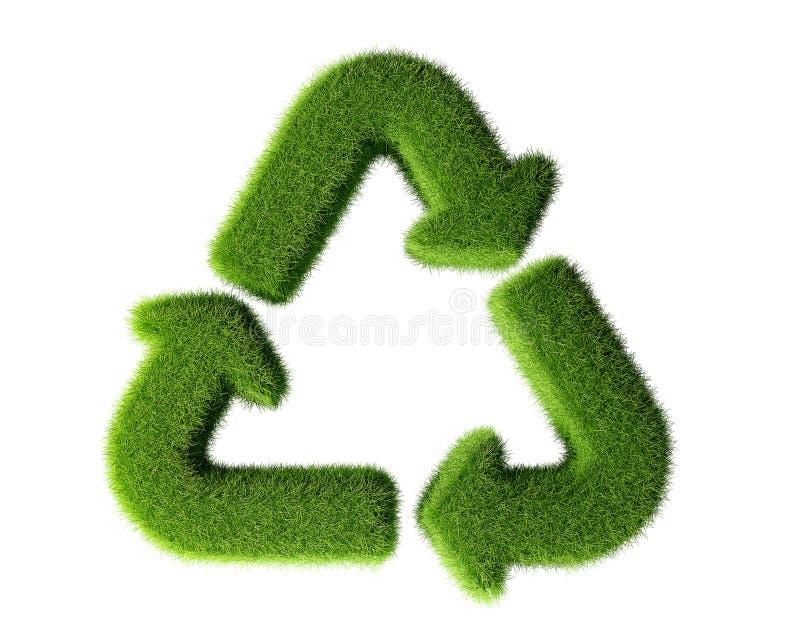 Recycleer teken van gras wordt gemaakt dat stock illustratie