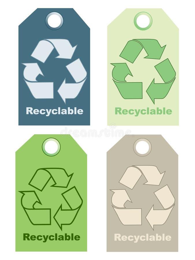 Recycleer tekens royalty-vrije illustratie