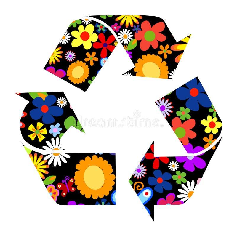 Recycleer tekens met bloemen vector illustratie