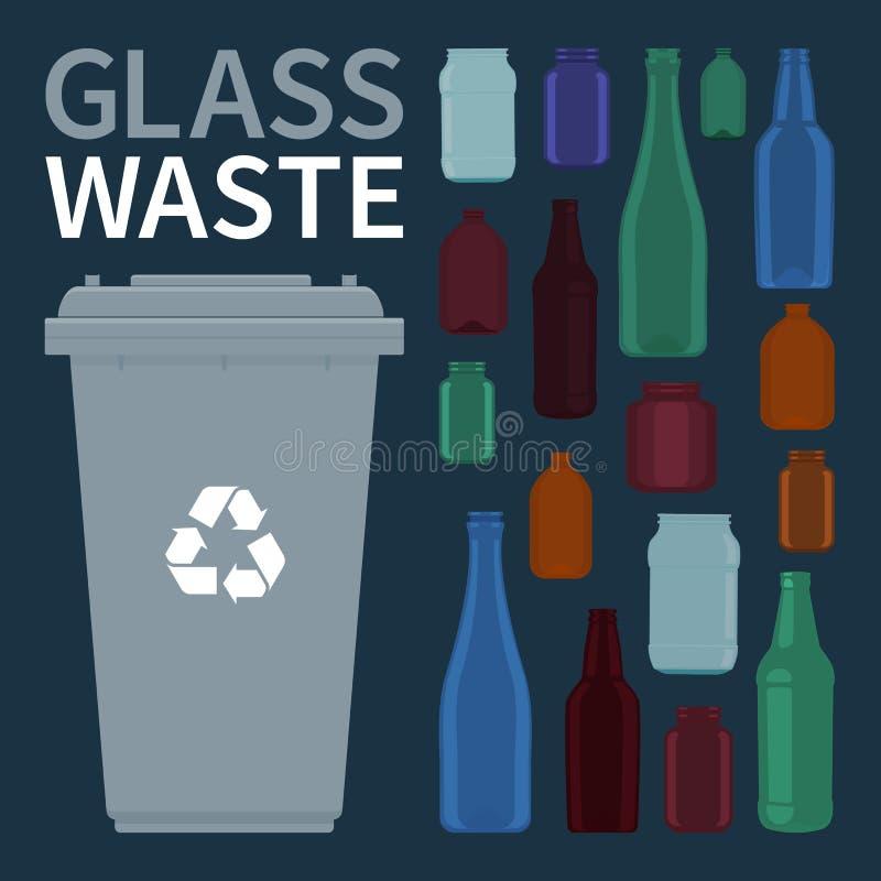 Recycleer van glasflessen en kruiken vector royalty-vrije illustratie