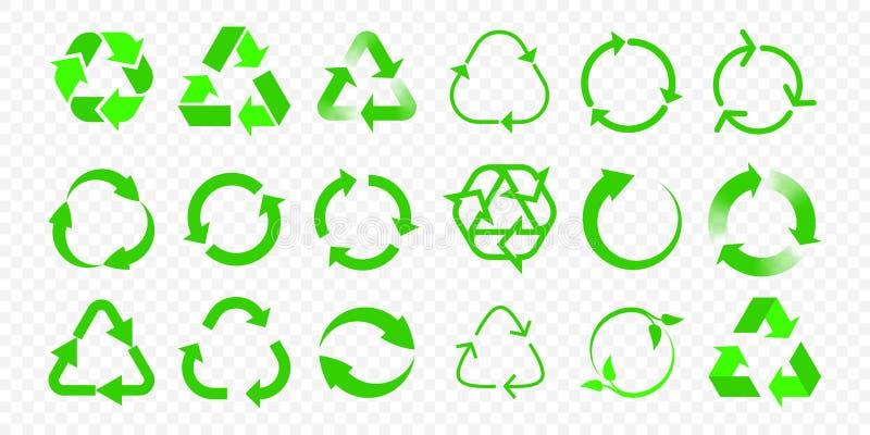 Recycleer vectorpictogrammen De pijl van hergebruikseco en de biotekens van de huisvuil kringloop groene driehoek vector illustratie