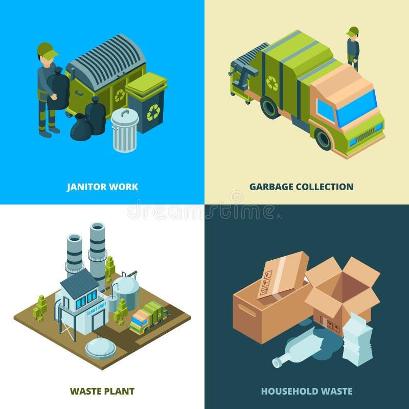 Recycleer voedselconcept Afvalverwijdering van de diensten die van de stadsverwijdering vrachtwagen vector isometrische illustrat stock illustratie