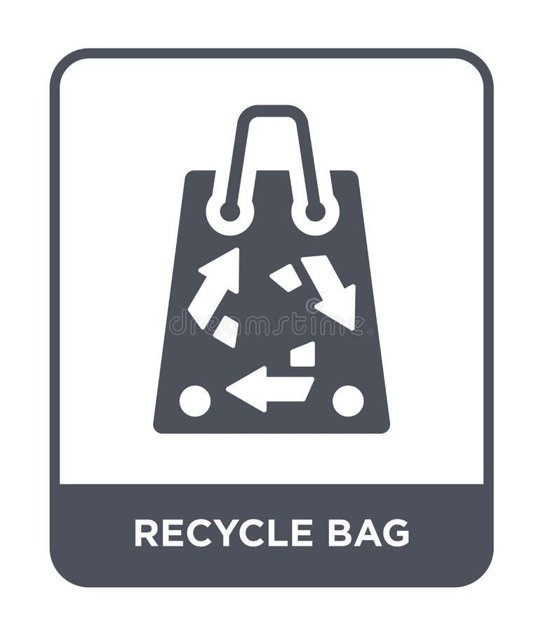 recycleer zakpictogram in in ontwerpstijl recycleer zakpictogram op witte achtergrond wordt geïsoleerd die recycleer eenvoudig en royalty-vrije illustratie