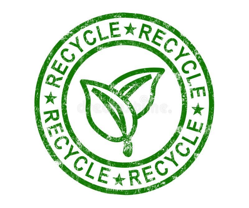 Recycleer Zegel toont vriendschappelijke Vernieuwbaar en Eco vector illustratie