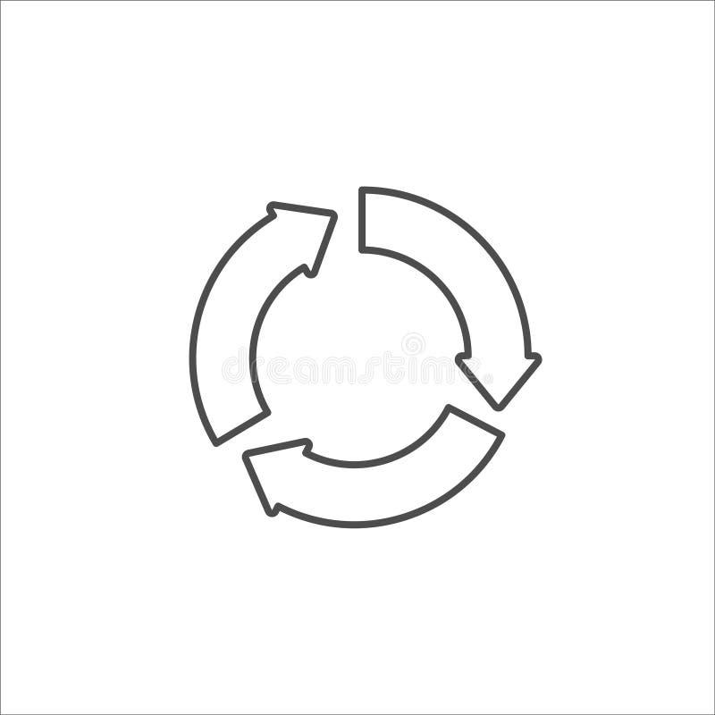 Recycleer zwart pictogram op witte vector als achtergrond stock illustratie
