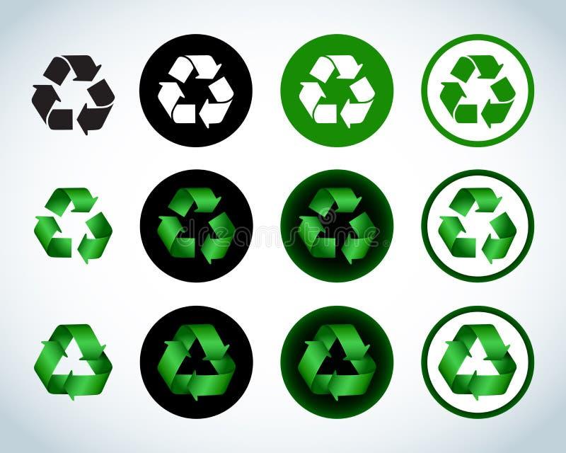 Recycleren de ecologie groene pictogrammen pictogrammen, geplaatste tekens Kleurrijke en vlakke versies Geïsoleerde illustraties stock illustratie
