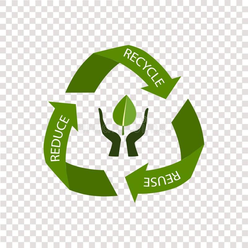 Recyclerend die pijlensymbool, op transparante achtergrond wordt geïsoleerd royalty-vrije stock afbeeldingen