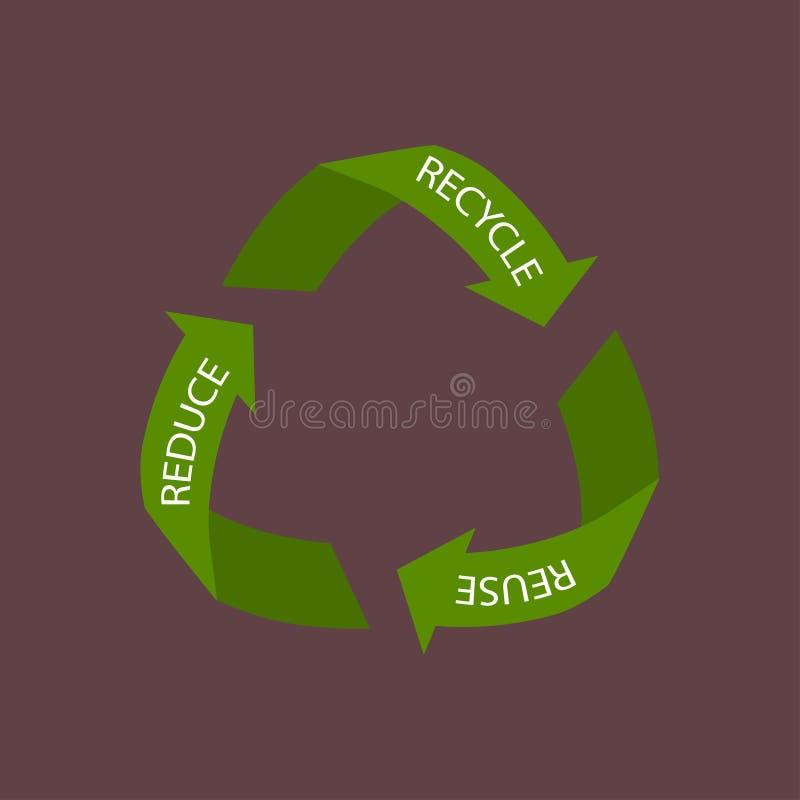 Recyclerend die pijlensymbool, op witte achtergrond wordt geïsoleerd stock afbeelding