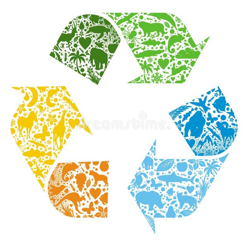 Recyclerend embleem stock illustratie