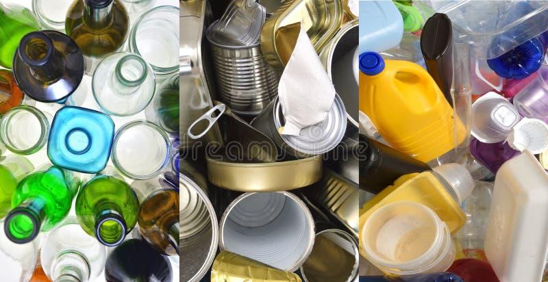 Recyclerend glas, tinblikken en plastiek stock afbeelding