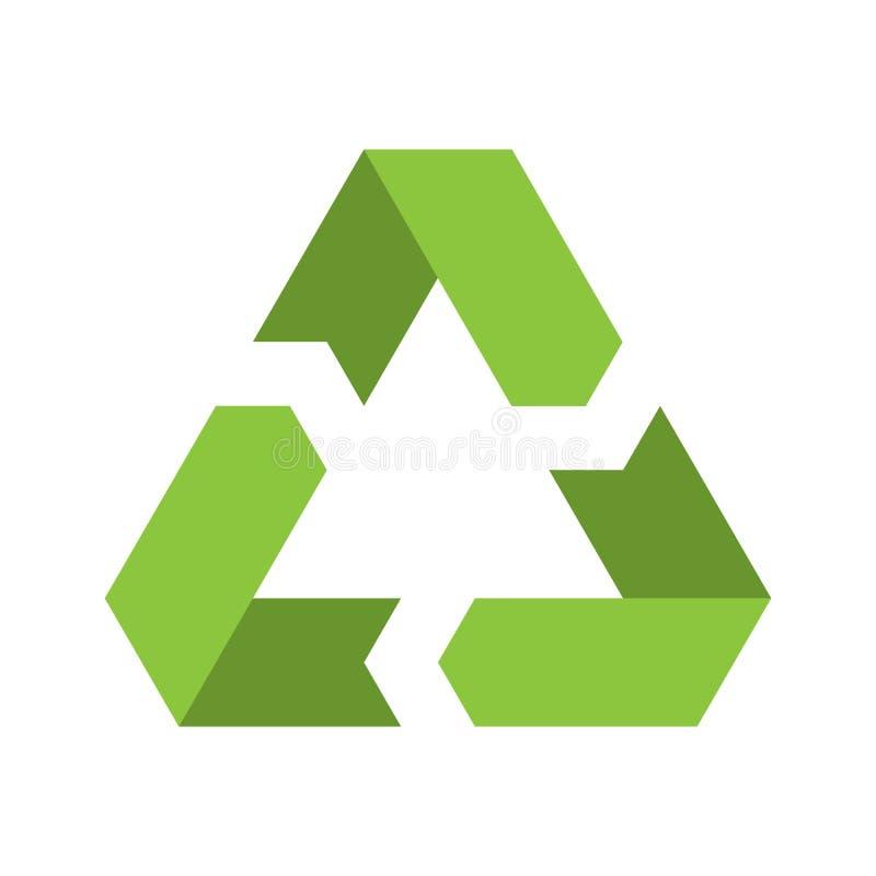 Recyclerend symbool Milieu of ecologisch symbool Eenvoudig vlak vectorpictogram Groen teken stock illustratie