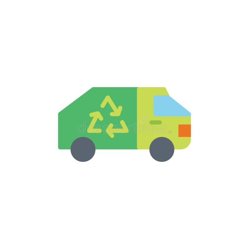 Recyclerend vrachtwagen vlak pictogram stock illustratie