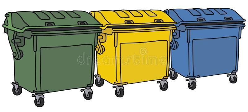 Recyclerende containers stock illustratie