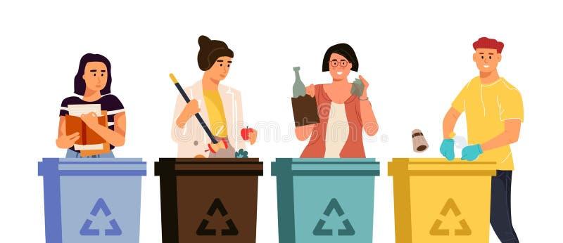 Recyclerende karakters Beeldverhaalmannen en vrouwen die afval in verschillende containers zetten, huisvuil sorterend concept Vec royalty-vrije illustratie