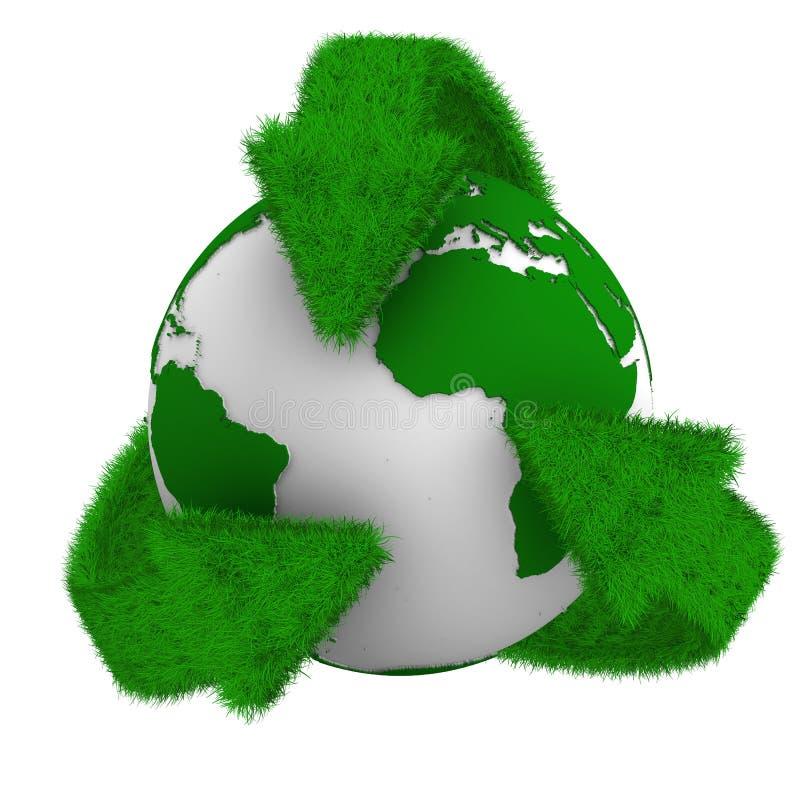 Recyclerende pijlen en bol vector illustratie