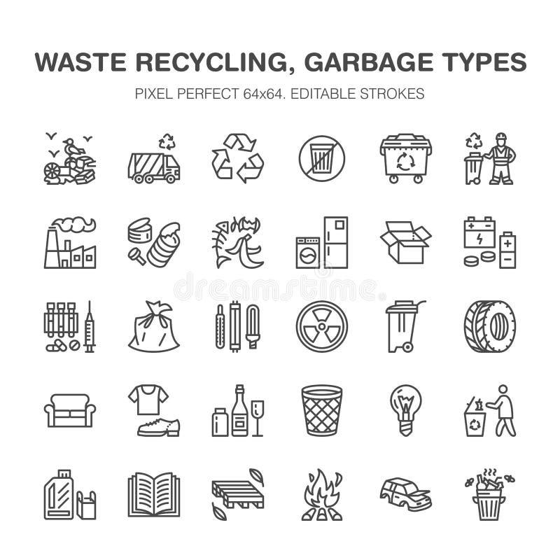 Recyclerende vlakke lijnpictogrammen Verontreiniging, kringloopinstallatie Huisvuil sorterende types - document, glas, plastiek,  royalty-vrije illustratie