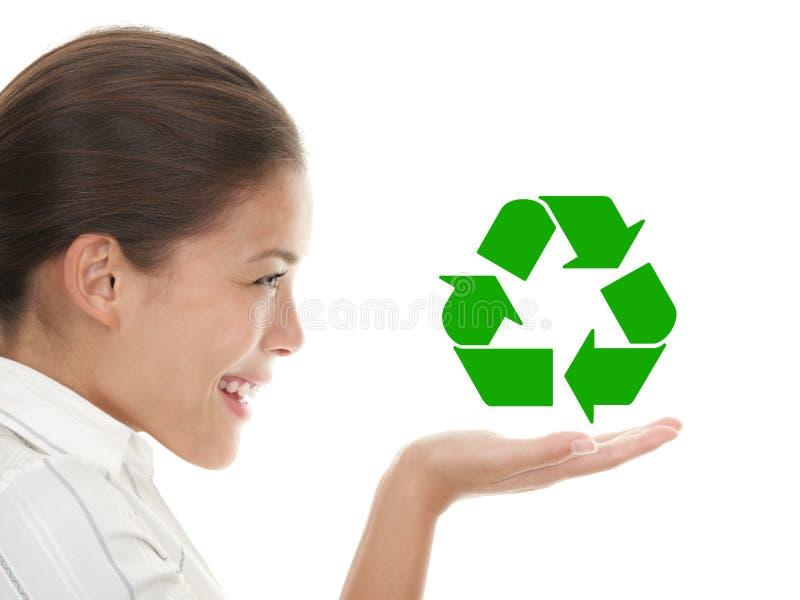 Recyclerende vrouw royalty-vrije stock foto's