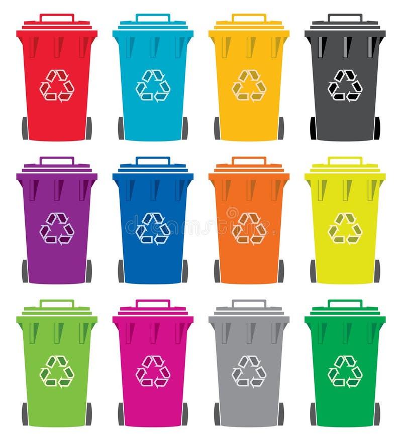 Recyclerende wheelie bakpictogrammen stock illustratie