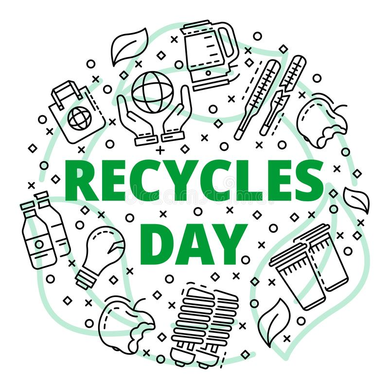 Recycles clean day concept background, outline style. Recycles clean day concept background. Outline illustration of recycles clean day vector concept background royalty free illustration
