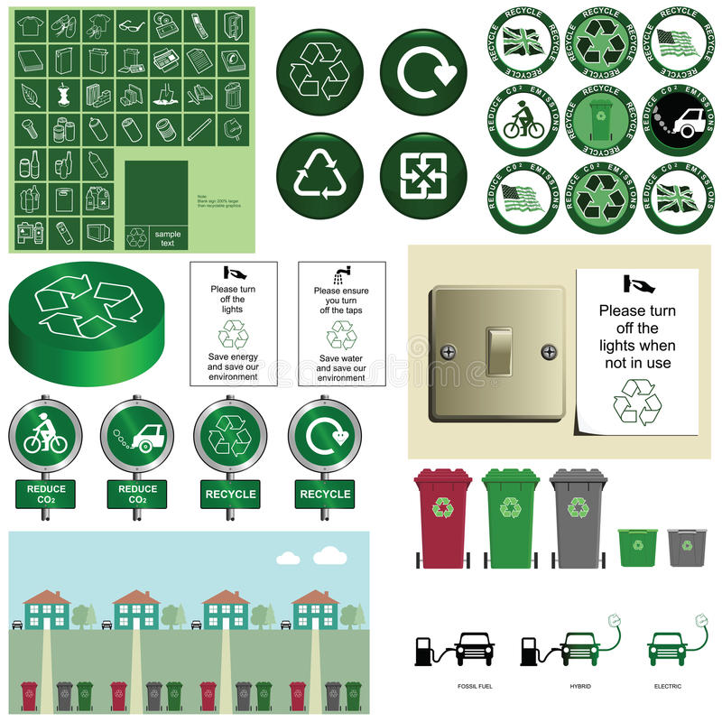 Recycling. Environmental and conservation recycling and C02 emissions collection vector illustration