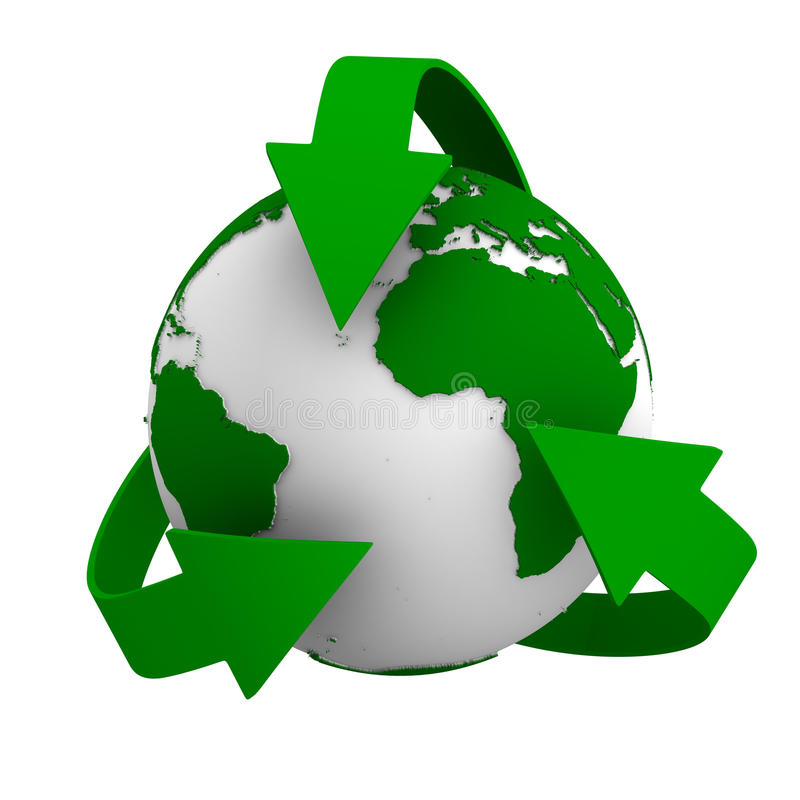 Recycling arrows and globe. Isolated 3d image stock illustration