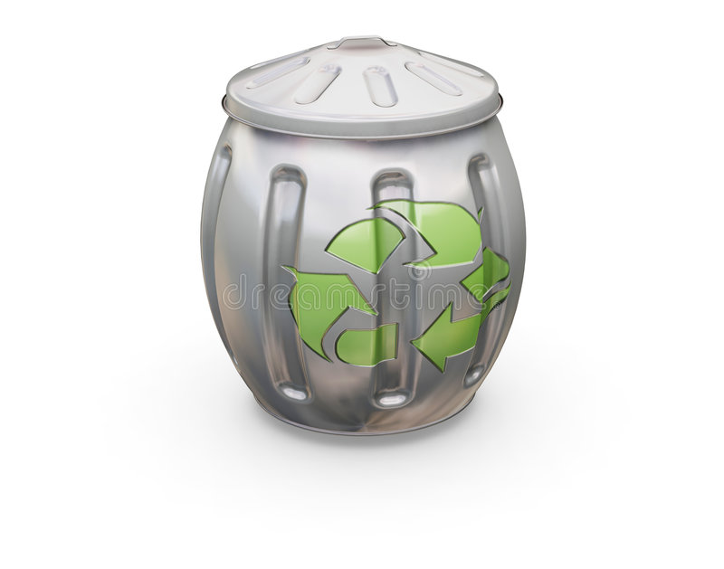 Recycling bin. 3D render of a bin with the recycling symbol on it stock illustration