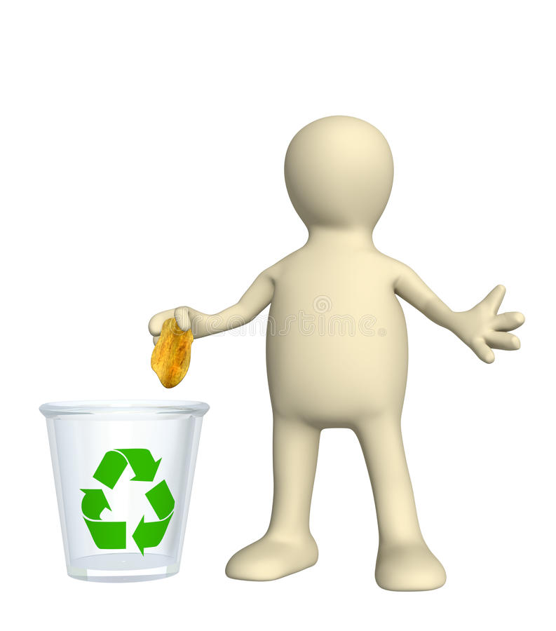 Recycling bin. Puppet, thrown out garbage in recycling bin vector illustration