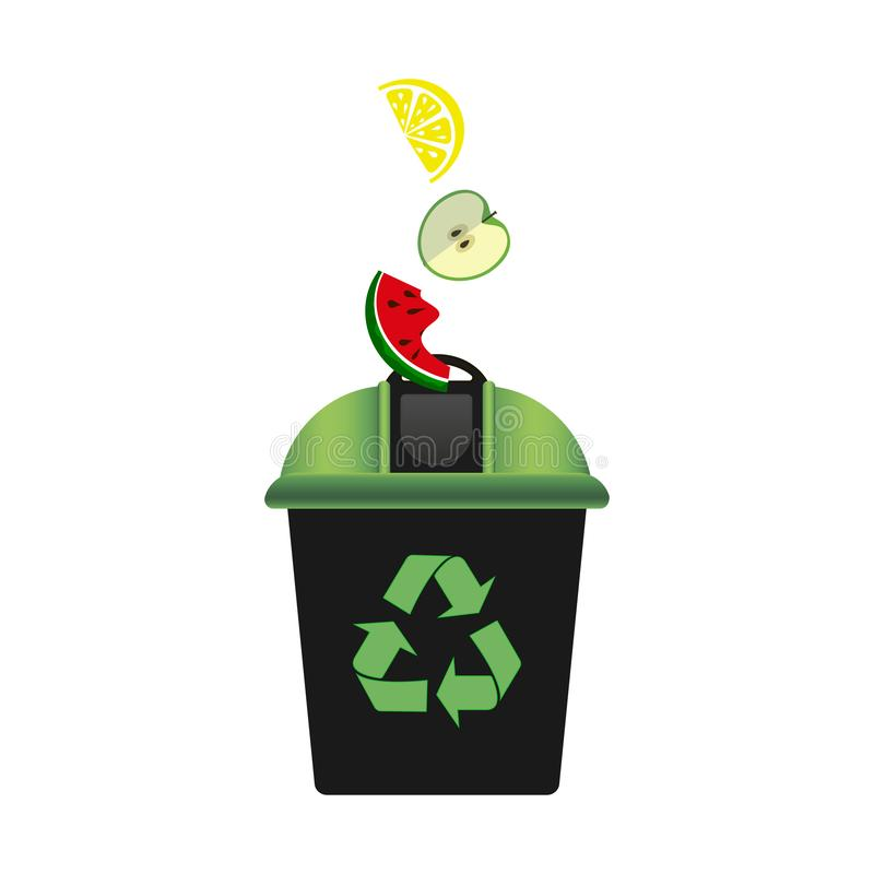Recycling bin with green lid for waste products. Recycling symbol. Environmental Protection. Zero waste. White background. Vector vector illustration