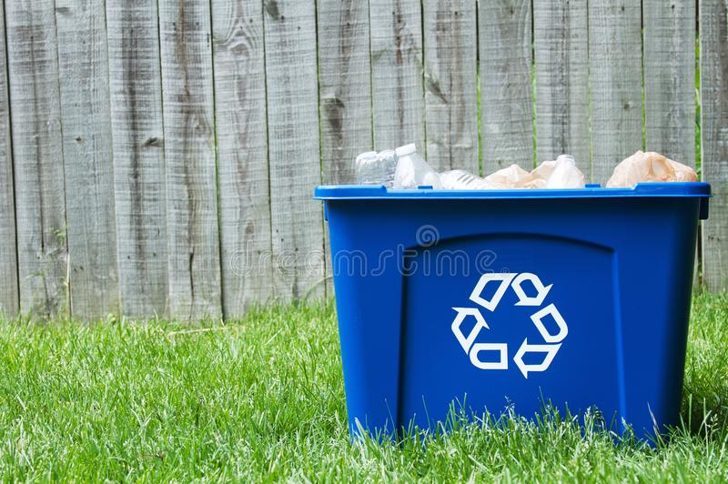 A recycling bin outside royalty free stock photos