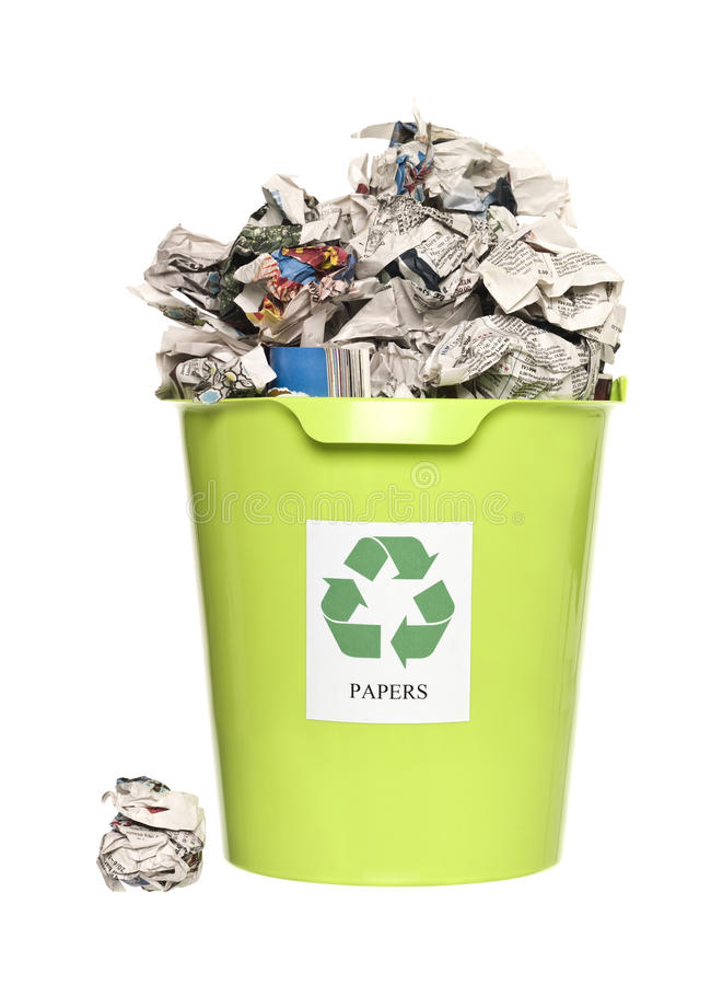Recycling bin with paper stock images