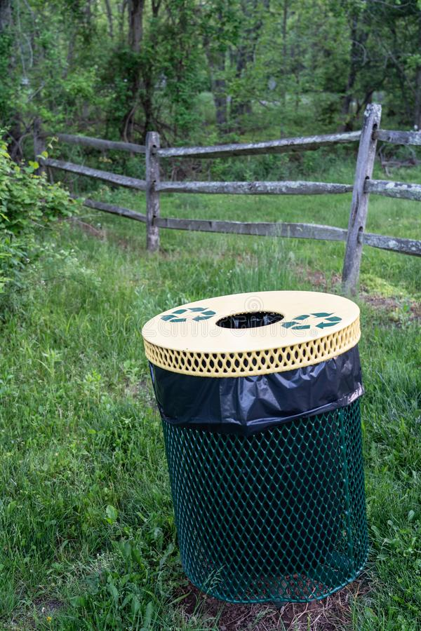 Recycling bin in the park royalty free stock photos