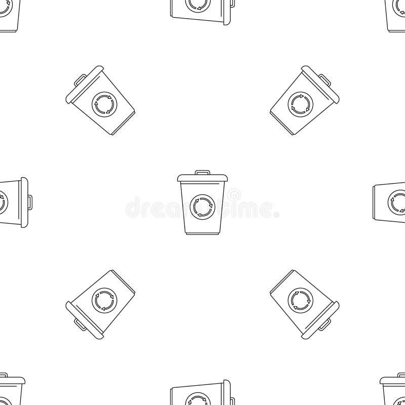 Recycling bin pattern seamless vector stock illustration