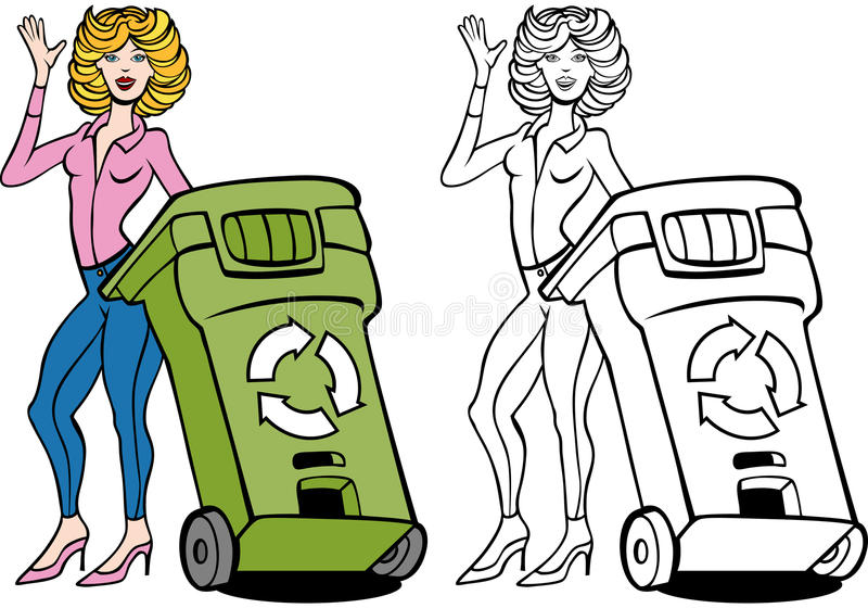 Download Recycling Bin Woman Set stock vector. Image of environmental - 13236489