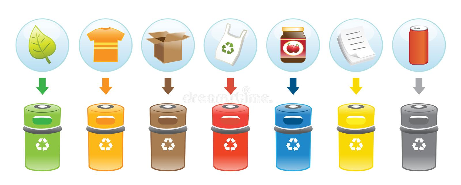 Recycling Bins. Vector illustration showing various bins for different garbage stock illustration