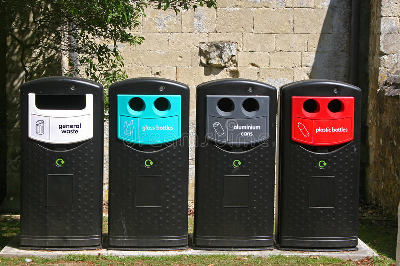 Recycling bins royalty free stock image