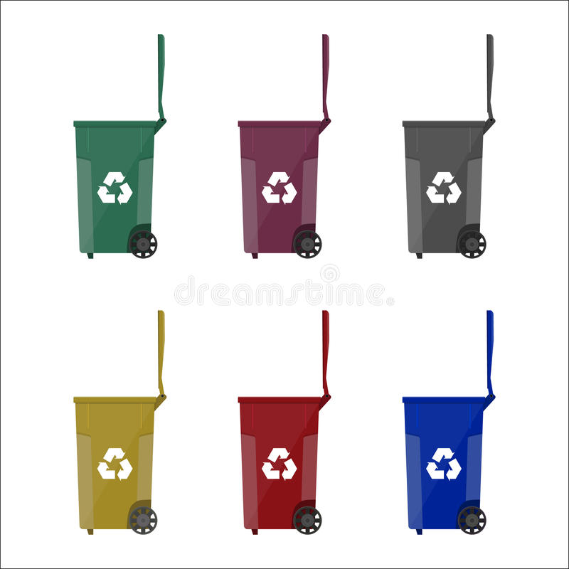 Recycling bins containers for garbage. With different colors. vector illustration in flat style royalty free illustration