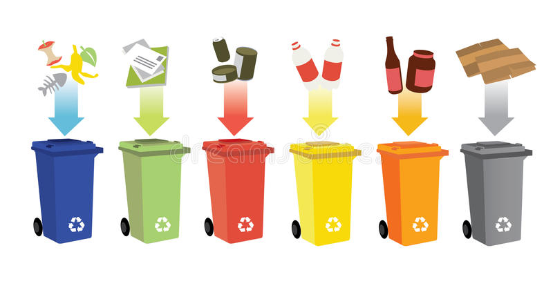 Recycling bins and waste management vector illustration