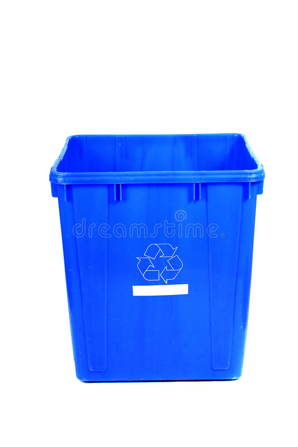 Recycling blue bin royalty free stock photo