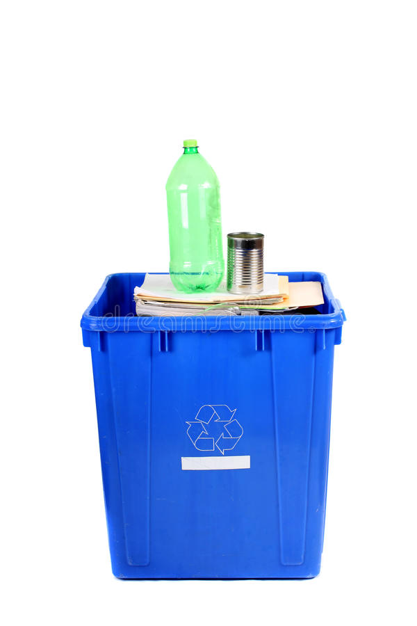 Recycling blue bin stock photography