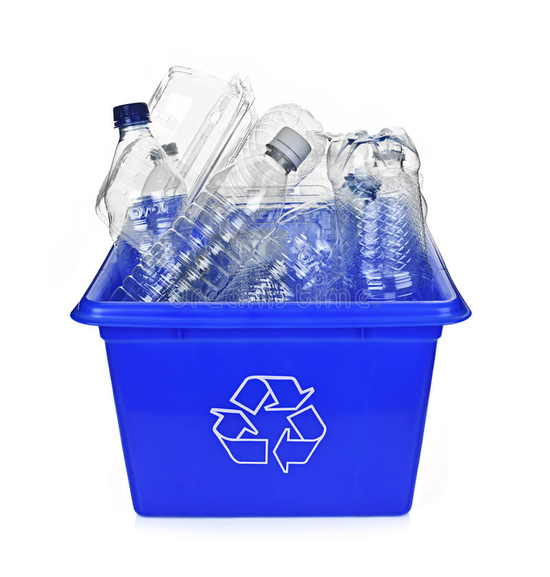 Recycling blue box stock photography