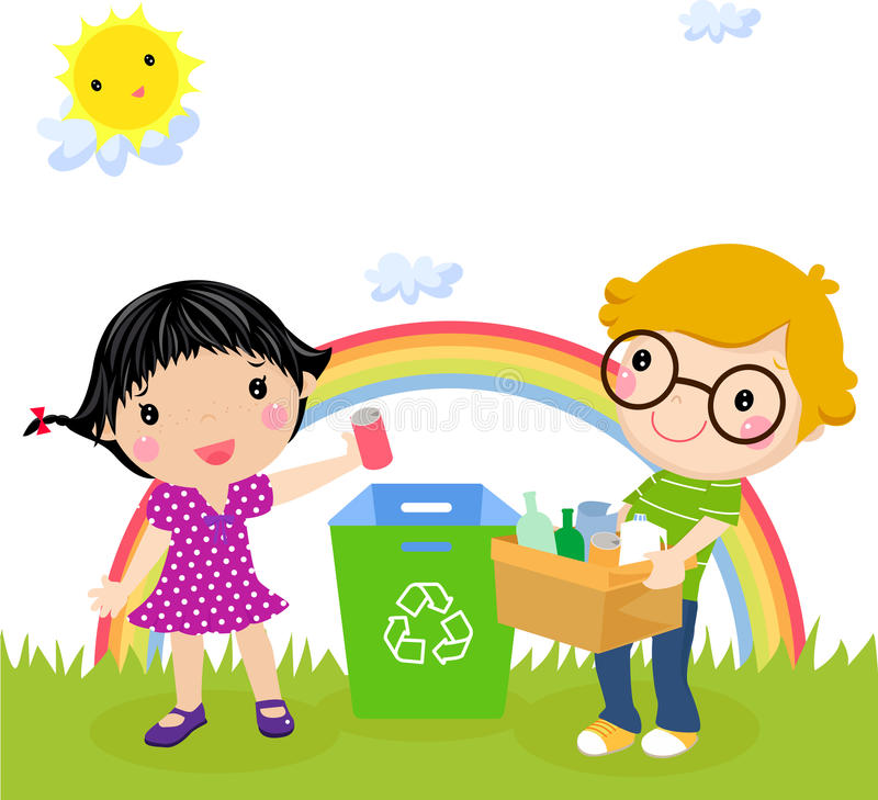 Recycling boy and girl royalty free illustration
