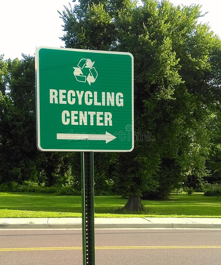Recycling Center Directions Sign royalty free stock image