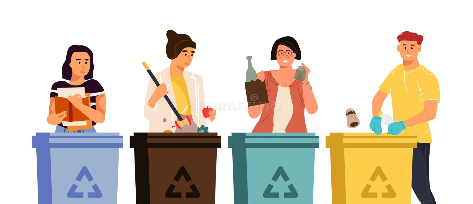 Recycling characters. Cartoon men and women putting trash in different containers, garbage sorting concept. Vector. Illustrations global eco recycling waste royalty free illustration