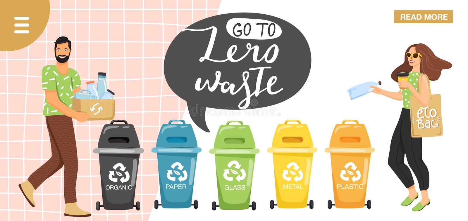 Recycling concept. People sorting garbage into containers for recycling. Website landing page design template. Stylish typography. Slogan design `go to zero vector illustration