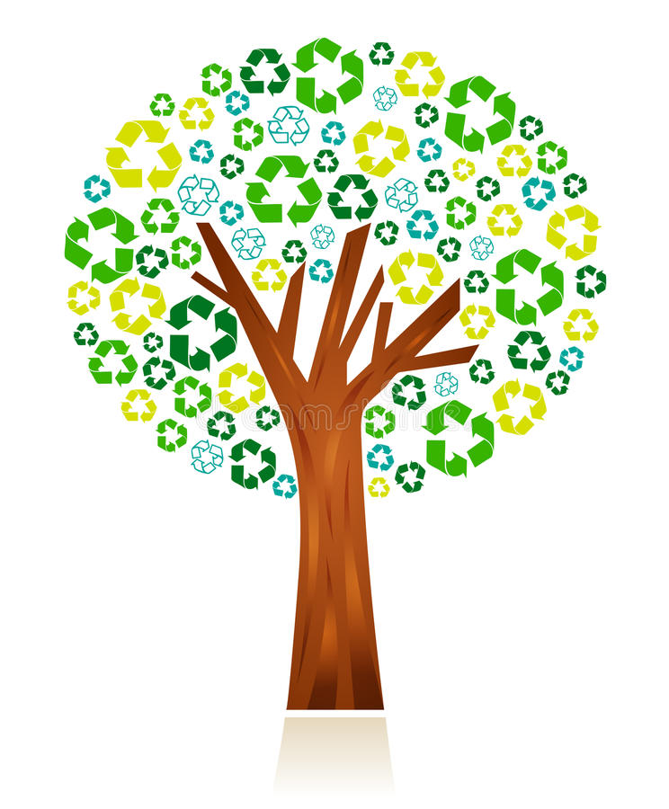Recycling concept. Tree shape with recycling symbols as crown. Concept: Recycling protects the nature and the whole environment royalty free illustration
