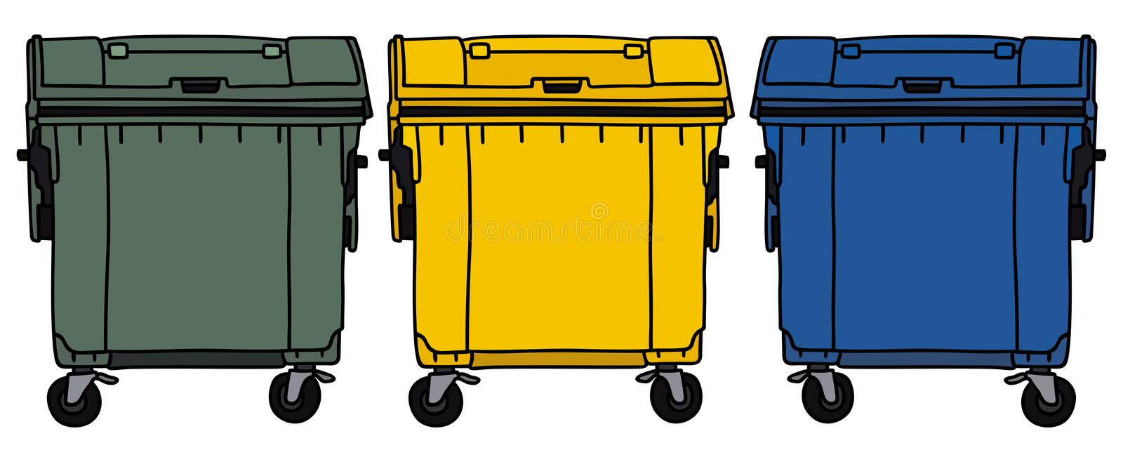Recycling containers. Hand drawing of three recycling containers vector illustration
