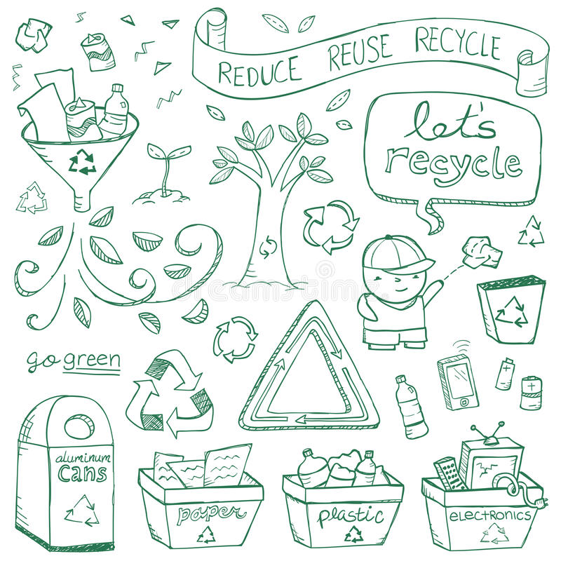 Download Recycling Doodles stock vector. Image of doodle, battery - 32136333