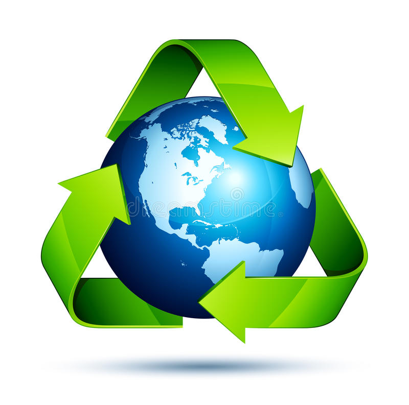 Recycling earth. With green arrows