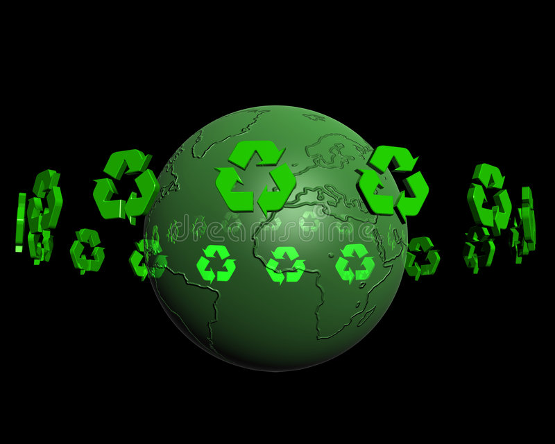 Recycling on earth 2 vector illustration